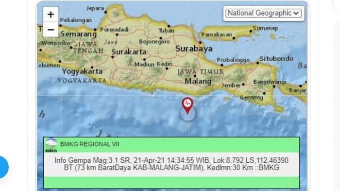 Siang Menjelang Sore Ini Gempa Bumi Terjadi di Malang, Pusat Lindu di Laut Selatan, Ini Kata BMKG