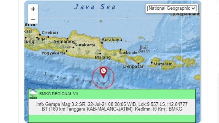 Malang Dilanda Gempa Bumi Pagi Ini, Pusat Lindu Jauh Nun di Laut Selatan, Ini Unggahan BMKG
