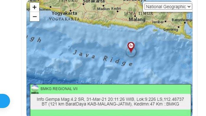 Malam Ini Gempa Baru Saja Melanda Malang, Pusatnya di Laut Selatan, Pacitan 3 Kali Lindu Sore Tadi