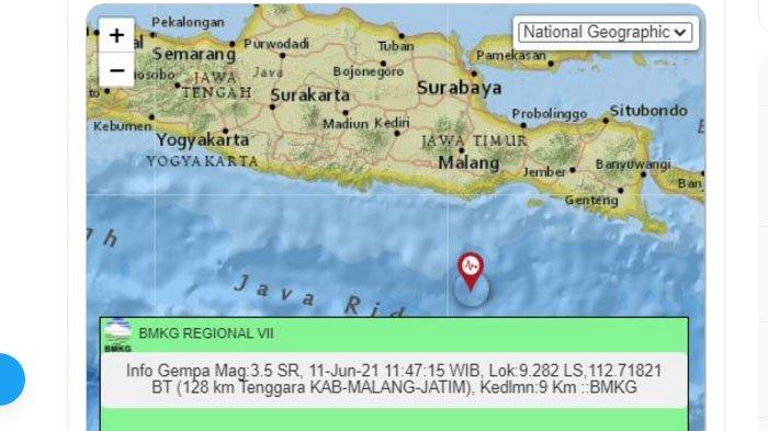 Siang Ini Gempa Terjadi di Malang Jawa Timur, Pusat Lindu di Laut Selatan, Ini Unggahan BMKG