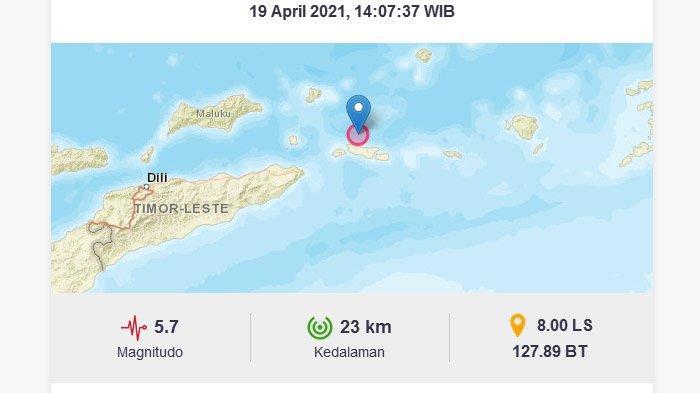 BARU Saja Gempa 5,7 M Mengguncang Maluku Barat Daya, Pusat Lindu di Laut Dekat ke Daratan