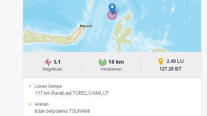 Gempa yang terjadi di Tobelo, Maluku Utara, Senin (22/2/2021) siang.