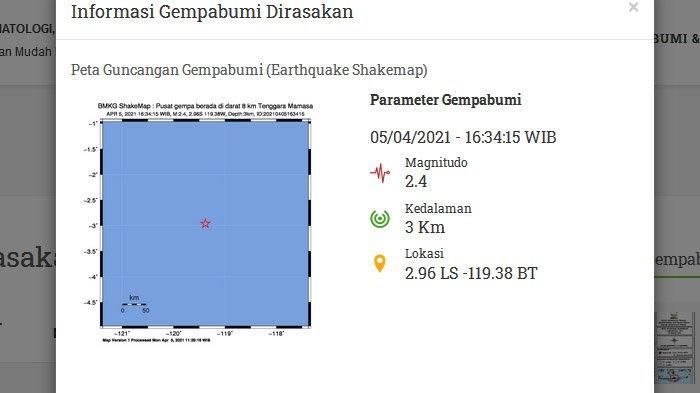 Gempa Baru Saja Mengguncang Mamasa Sulawesi Sore Tadi, Pusatnya di Darat dan Dangkal, Kedalaman 3 Km