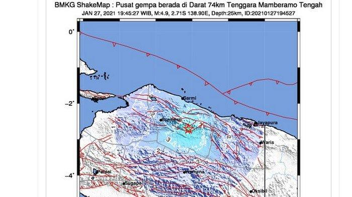Gempa Bumi Terkini, Terjadi di Darat, Mengguncang Mamberamo Tengah Papua Rabu Malam, Ini Kata BMKG