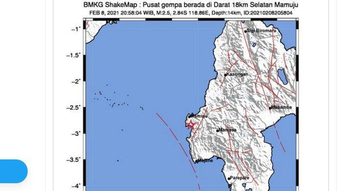 Menjelang Tengah Malam, Gempa Darat Kembali Melanda Mamuju Sulawesi Barat, Ini Kata BMKG