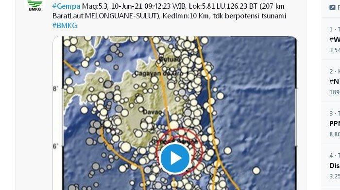 Baru Saja Gempa 5,3 Melanda Perairan Melonguane Sulut, Sebelumnya Pagi Tadi di Pacitan