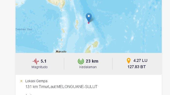 Tak Hanya Nias Barat, Gempa Juga Melanda Sulawesi Utara Sore Ini, Pusatnya di Laut, Bermagnitudo 5,1