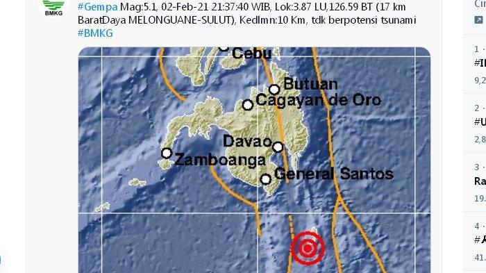 Gempa Terkini, Melanda Sulawesi Utara Menjelang Tengah Malam, Pusat Gempa di Laut, Ini Unggahan BMKG