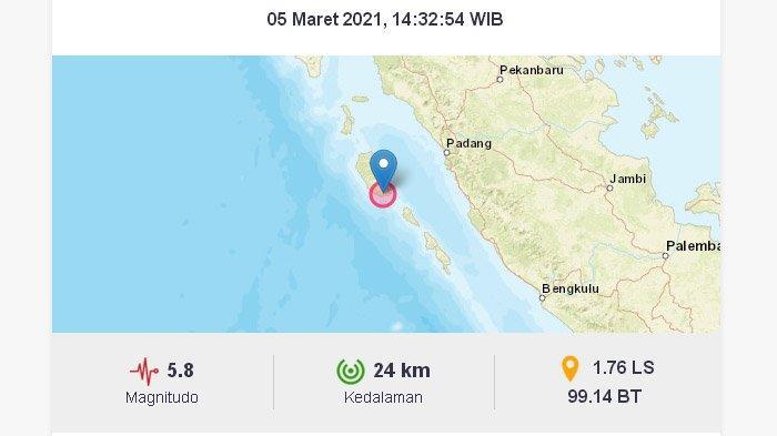 Tanpa Disadari Hari Ini Terjadi Gempa yang Cukup Besar di Indonesia, Pusat Gempanya di Mentawai