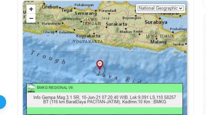 Gempa yang terjadi di Pacitan, Jawa Timur, Kamis (10/6/2021) pagi.
