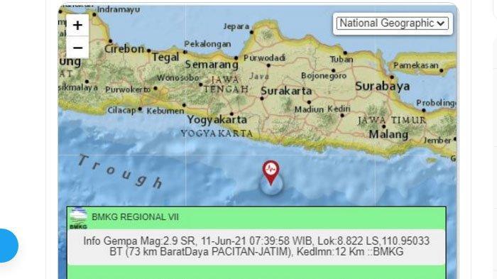 Gempa di Pacitan, Jawa Timur, Jumat (11/6/2021) pagi.