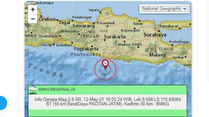 Selepas Magrib Gempa Terjadi di Pacitan Jatim, Pusatnya di Laut Selatan, Berikut Ini Unggahan BMKG