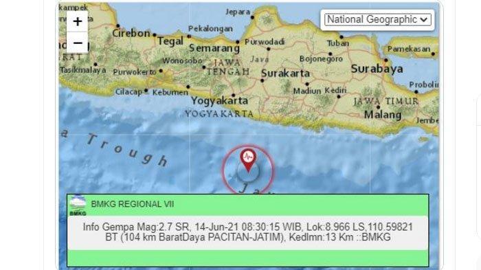 Pagi Ini Gempa Melanda Pacitan Jawa Timur, Pusat Lindu di Laut Selatan