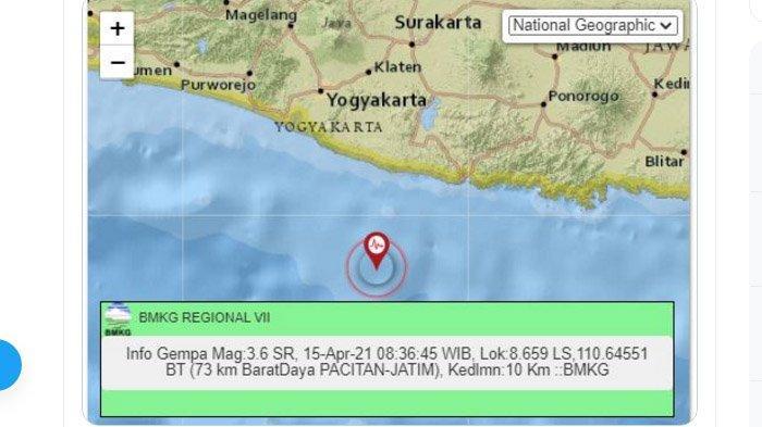 Pagi Ini Baru Saja Gempa Melanda Pacitan Jatim, Pusat Lindu Jauh Nun di Laut Selatan, Ini Kata BMKG