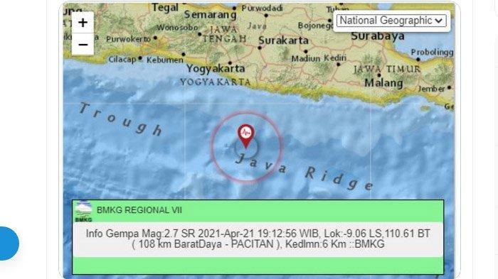 Gempa yang terjadi di Pacitan, Rabu (21/4/2021) malam.