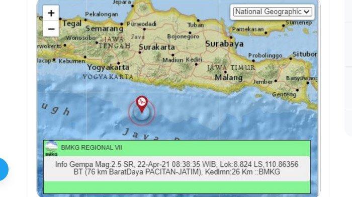 Pagi Tadi Gempa Melanda Pacitan Jatim, yang Kedua Sejak Tadi Malam, Pusat Sama-sama di Laut Selatan