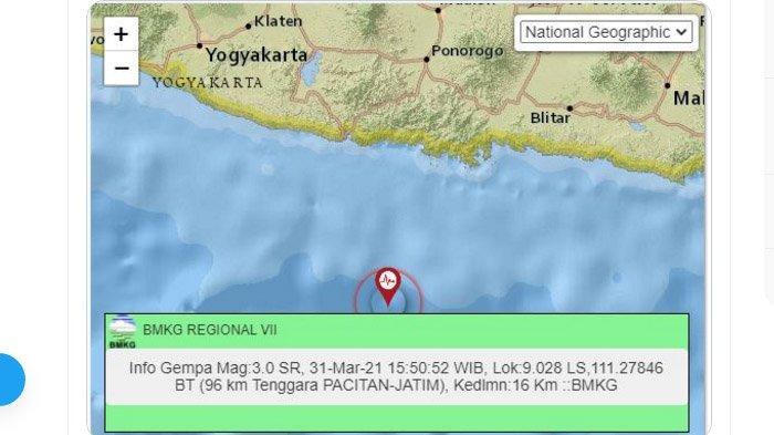 Gempa yang melanda Pacitan, Rabu (31/3/2021).