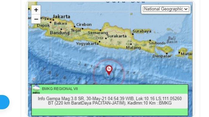 Pagi Tadi Gempa Terjadi di <a href='https://manado.tribunnews.com/tag/pacitan' title='Pacitan'>Pacitan</a> Jawa Timur, Pusat Lindu Jauh di Laut Selatan