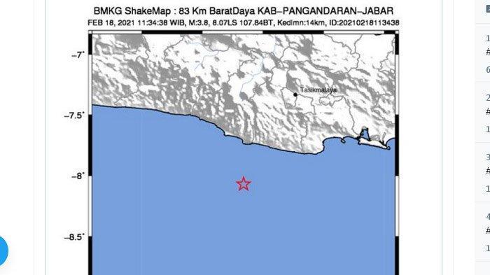 Gempa di Pangandaran, Kamis (18/2/2021) siang.