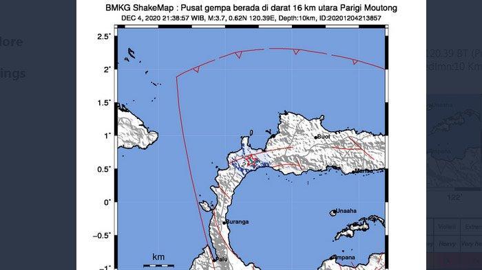 Gempa Bumi Terkini, Parigi Moutong Sulawesi Diguncang Gempa Jumat Malam, BMKG: Pusatnya di Darat