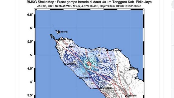 Gempa yang terjadi di Kabupaten Pidie Jaya, Aceh, Sabtu (30/1/2021) sore.