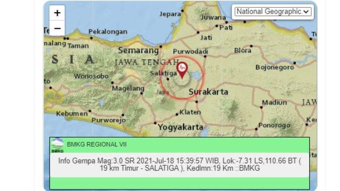 Sore Ini Gempa Melanda Salatiga Jawa Tengah, Pusat Lindu di Darat, Ini Unggahan BMKG