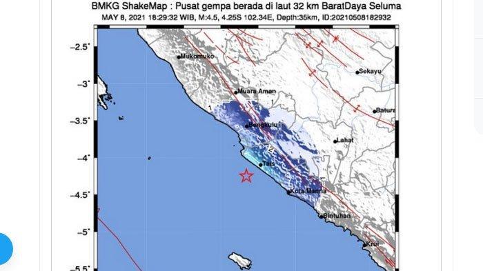 Gempa Baru Saja Melanda Seluma Bengkulu Petang Ini, Empat Daerah Merasakannya
