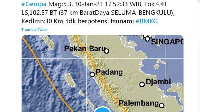 Dua Gempa Bumi Melanda Sumatra Menjelang Magrib, di Darat Lalu di Laut Ini Kata BMKG