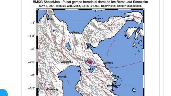 Gempa yang terjadi Sorowako, Sulawesi Selatan, Kamis (6/5/2021) malam.