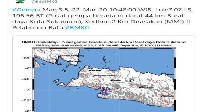 SIANG Tadi Gempa Bumi Kembali Mengguncang Sukabumi, Pusatnya di Darat