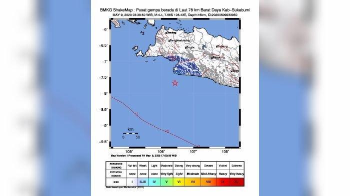 UPDATE Gempa Sukabumi Minggu Malam, Terasa di Banten Hingga Pangandaran,Ini Daerah yang Terasa Lindu