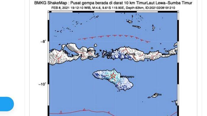 Gempa yang terjadi di Sumba Timur, NTT, Senin (8/2/2021).