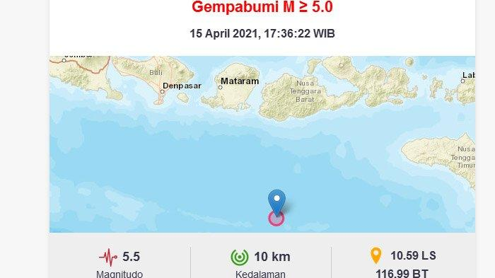 Gempa yang terjadi Sumbawa Barat, Kamis (15/4/2021) malam.
