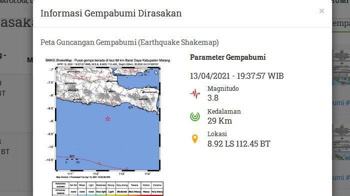Dalam 6 Jam Dua Gempa Susulan Landa Malang Tadi Malam, Lindu Pertama Dirasakan di Sejumlah Daerah