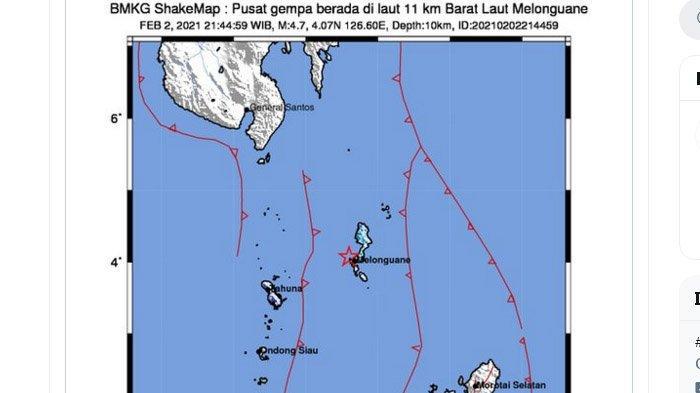 BMKG Laporkan Gempa Susulan di Sulawesi Utara, 2 Gempa Guncang Melonguane Malam Ini, Berbeda 7 Menit