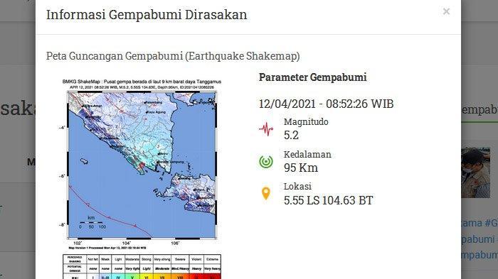 Menjelang Ramadan, Dua Gempa Melanda Tanggamus Lampung, Gempa Kedua Lebih Besar, Ini Kata BMKG