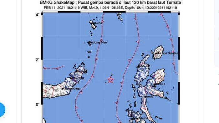 Gempa Bumi Baru Saja Melanda Ternate Maluku Utara Kamis Malam Ini, Dua Daerah Rasakan Lindu