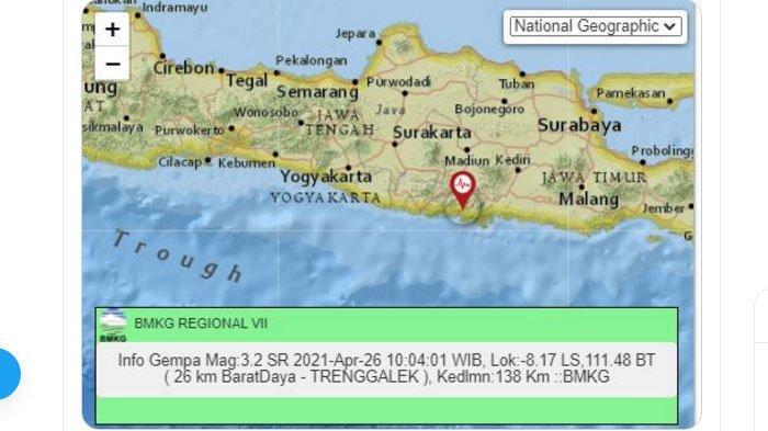 Baru Saja Gempa Terjadi di Trenggalek Jatim, Pusat Gempa di Darat Dekat Pantai, Tadi Subuh di Bantul