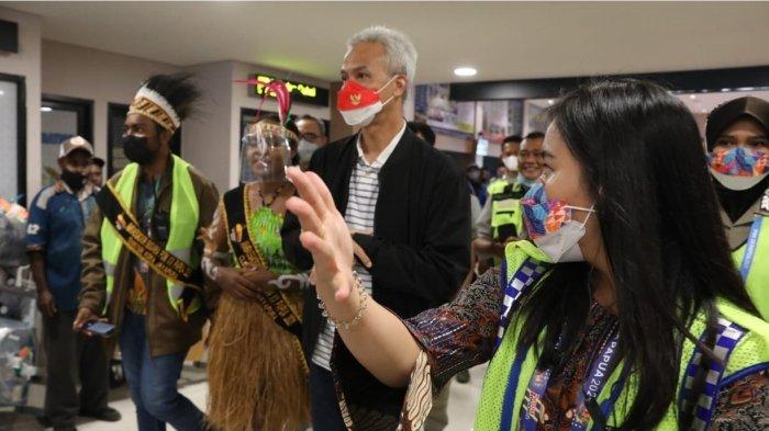 Gubernur Ganjar Disambut Meriah Warga Papua, Sempatkan Nonton Atlet Jateng