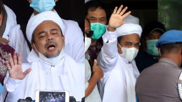 Pemimpin Front Pembela Islam (FPI), Muhammad Rizieq Shihab didampingi kuasa hukumnya, Munarman tiba di Mapolda Metro Jaya, Jakarta Selatan, Sabtu (12/12/2020).