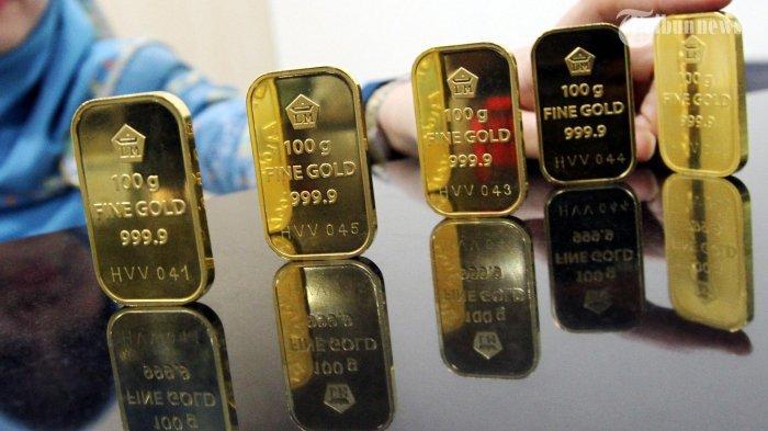 Illustrasi harga emas batangan.