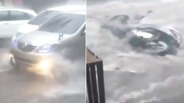 Hujan Terjang Bandung, di Jalan Sukajadi Air Meluap dan Mengalir Deras, Motor pun Sampai Hanyut
