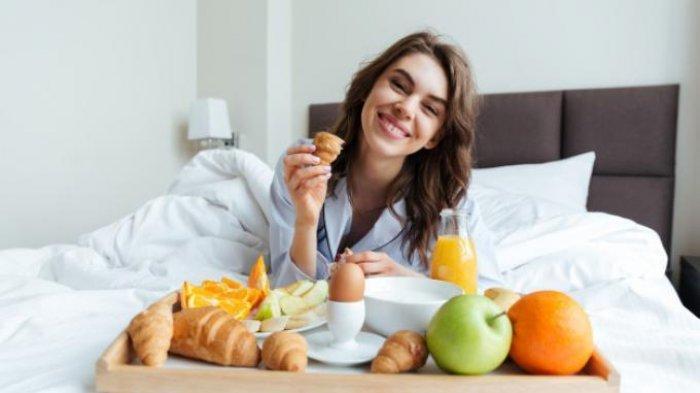 Ilustrasi orang sarapan pagi