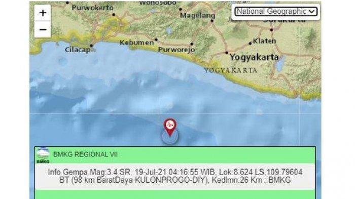 INFO Gempa Bumi Pagi Ini, Wilayah Yogyakarta Dilanda Gempa Magnitudo 3,5, Lokasi di Laut