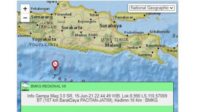 BARUSAN, Gempa Bumi Gucang Pacitan Jawa Timur, Lokasinya Berdekatan dengan Gempa Sore Tadi