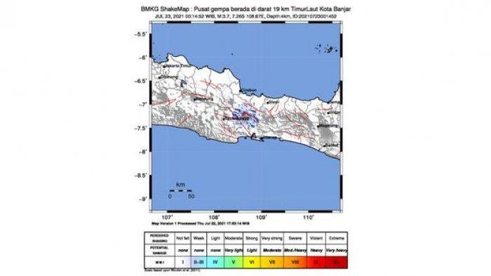 Gempa Bumi Guncang Jawa Barat Dini Tadi, di Darat, 19 Kilometer Timur Laut Kota Banjar