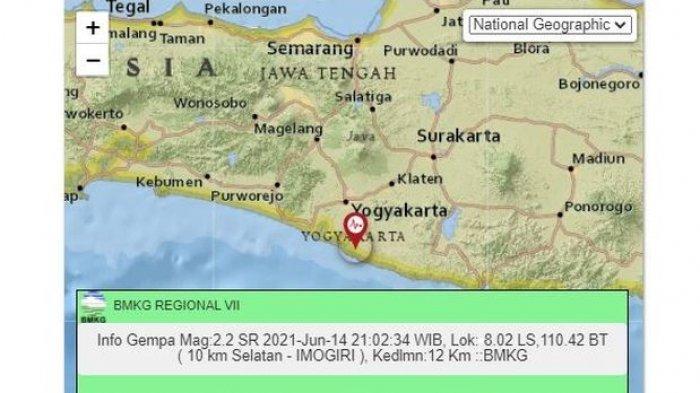 BARUSAN, Terjadi Gempa Bumi di Yogyakarta, Pusatnya Ada di Darat, 10 Kilometer Selatan Imogiri