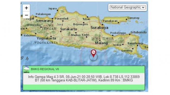 Gempa Bumi Melanda Blitar Dini Hari Tadi, Sebelumnya di Wilayah Jatim Lainnya Juga Terjadi Gempa