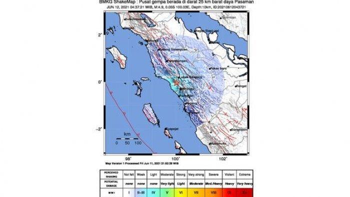 BARUSAN Terjadi Gempa Bumi di Pasaman Sumatera Barat, Magnitudo 4,9, Pusatnya di Darat