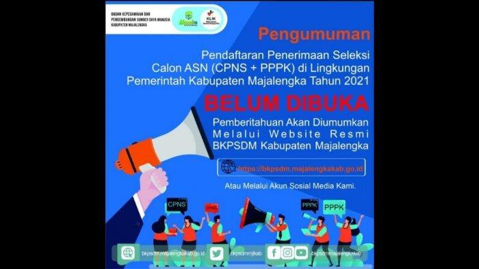 Informasi waktu pendaftaran CPNS dan PPPK di lingkungan pemerintah kabupaten Majalengka belum dibuka